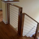 Railing with stained wood applied